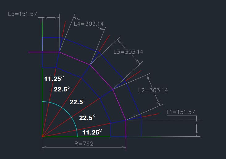 Calculated-miter-bend-dimensions-representation